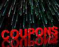 Coupons Word With Fireworks Showing Vouchers Royalty Free Stock Photo