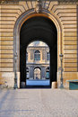 Cour Carrée through the gate of the Louvre Royalty Free Stock Photography