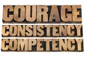 Courage consistency competency cs concept of character based leadership isolated text in vintage letterpress wood type Stock Photo