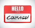 Courage name tag illustration design over a white background Royalty Free Stock Photography