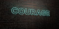 COURAGE -Realistic Neon Sign on Brick Wall background - 3D rendered royalty free stock image Royalty Free Stock Photo