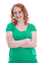 Courageous young girl with red hair isolated on white Royalty Free Stock Photo