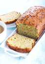Courgette loaf and cup of coffee Royalty Free Stock Photography