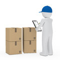 Courier figure package Royalty Free Stock Images