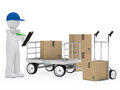 Courier figure trolley Royalty Free Stock Image