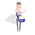 Courier girl post delivery illustration of on white background Royalty Free Stock Photography