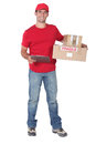 Courier with parcels and clipboard Royalty Free Stock Images