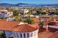 Court House Orange Roofs Buildings Pacific Ocean Santa Barbara C Royalty Free Stock Photo