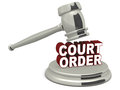 Court order under a legal hammer white background Stock Photo