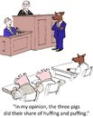 Courtroom in my opinion the three pigs did their share of huffing and puffing Stock Photos
