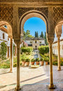 Courtyard of the Alhambra from Granada, Andalusia, Spain Royalty Free Stock Photo
