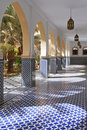 Courtyard with arches and tiles in Moroccan style Stock Image