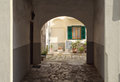 Courtyard of a building in italy traditional italian and window Stock Photo