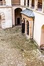 Courtyard castle arcades pieskowa skala medieval building near krakow poland Royalty Free Stock Image