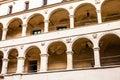 Courtyard castle arcades pieskowa skala medieval building near krakow poland Stock Photos
