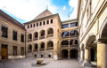 Courtyard and the castle in the old city Royalty Free Stock Photo