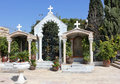 Courtyard in the church of Jesus' first miracle , Kefar Cana, Israel Stock Photos