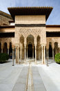 Courtyard of the lions in the alhambra el patio de los leones a moorish mosque palace and fortress complex granada spain Stock Photo