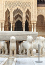 Courtyard of the lions in alhambra in granada is an image vertical Stock Photo