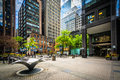 Courtyard and modern buildings in downtown Toronto, Ontario. Royalty Free Stock Photo