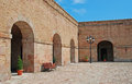 Courtyard of Montjuic Castle Stock Photo