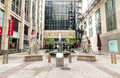 Courtyard outside the Board of Trade Centre in Chicago. Royalty Free Stock Photo