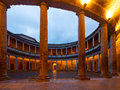Courtyard of  Palace of Charles V at Alhambra in  Granada Royalty Free Stock Photo