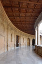 Courtyard of the Palace of Charles V at Alhambra palace, Granada Royalty Free Stock Photo