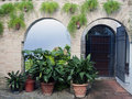 Courtyard with pots Royalty Free Stock Photo