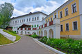 The courtyard of Savvino-Storozhevsky man's monastery in Zvenigorod, Russia Royalty Free Stock Photo