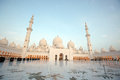 The courtyard of sheikh zayed grand mosque in abu dhabi with two minarets Royalty Free Stock Image