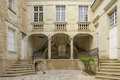 Courtyard and stairs chinon france in one of the renaissance mansions Stock Image