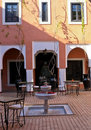 Courtyard of Traditional Riad Hotel, Marrakech Royalty Free Stock Photo