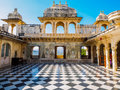 Courtyard at udaipur city palace in rajasthan india Stock Images