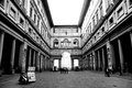 Courtyard uffizi gallery florence italy the of the a famous art museum in black white Stock Photo