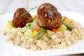 Couscous and meat balls Royalty Free Stock Photo