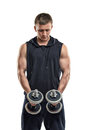 Coutout fitness man lifting dumbbell by both hands. Power training. Healthy lifestyle. Fitness and sport. Biceps Royalty Free Stock Photo