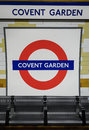 Covent Garden tube station sign - London Underground roundel Royalty Free Stock Photo