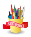 Cover with a cup with colorful pencils Royalty Free Stock Photo