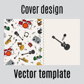 Cover design with music instrument pattern Royalty Free Stock Photo