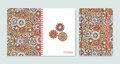Cover design for notebooks or scrapbooks with beautiful ornamental flowers