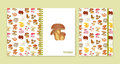 Cover design for notebooks or scrapbooks with mushrooms