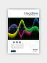 Cover design template with glowing diagram colourful waves and n