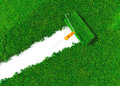 Cover the ground with grass a top view of a paint roller an orange handle that is finishing to paint a white using lawn instead a Royalty Free Stock Photography