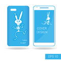 Cover mobile smartphone dancing funny rabbit skeleton in cartoon style  on white background. Vector illustration Royalty Free Stock Photo