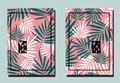 Cover with palm turquoise and white leaves on pink backdrop. Two floral vector templates of flyers.
