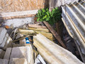 Cover plates containing asbestos roofing sheets abandoned by unknown cause pollution Royalty Free Stock Photography