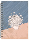 Cover retro design with bouquet of the notebook