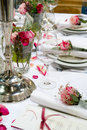 Covered banquet with red Royalty Free Stock Photo