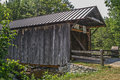 Covered bridge alvah hopson built this multiple king post with arch in it crosses spruce creek in salisbury center new york the Stock Photos